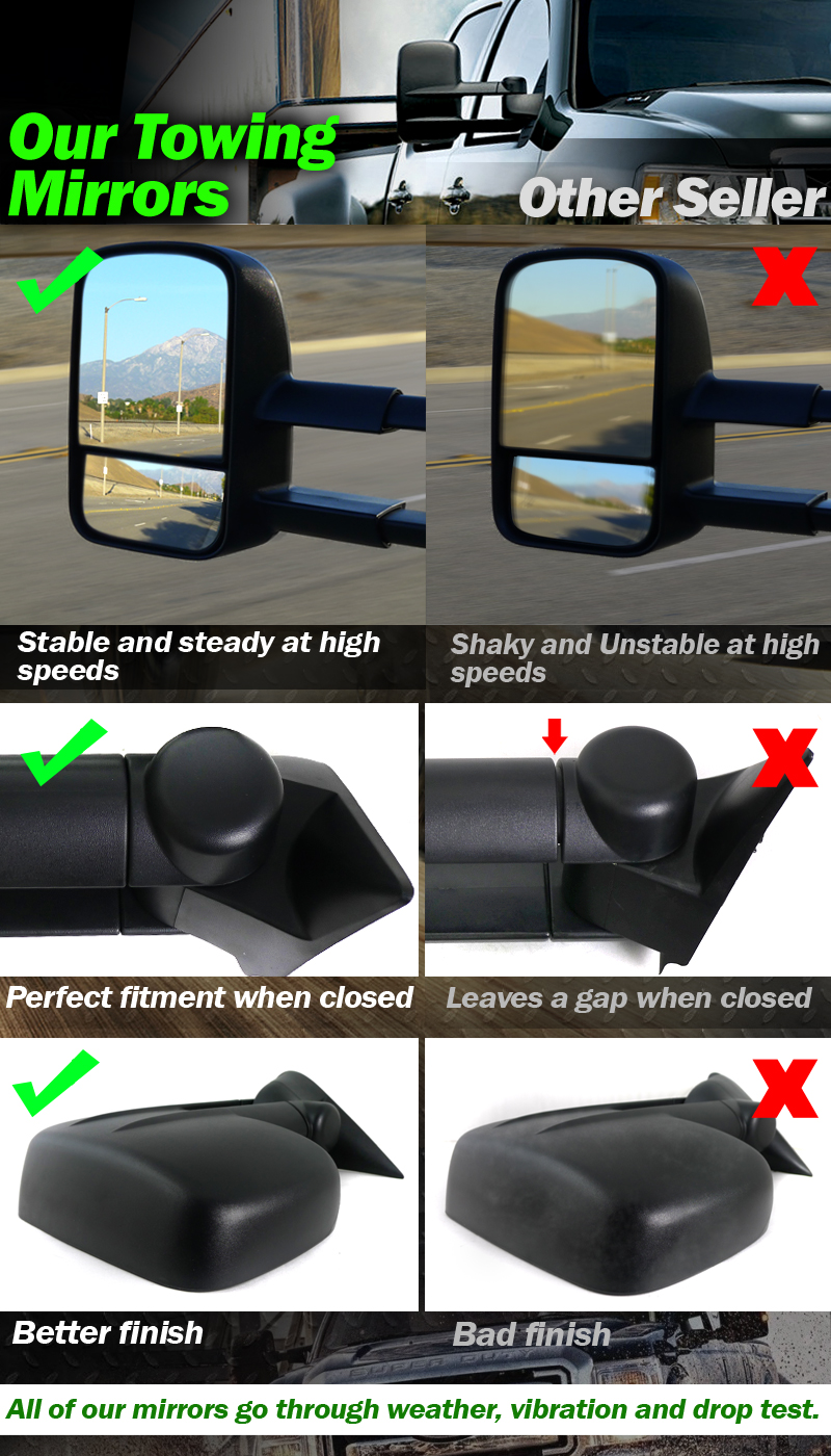 For 88 98 Chevy Gmc 1500 2500 3500 Towing Mirrors Manual